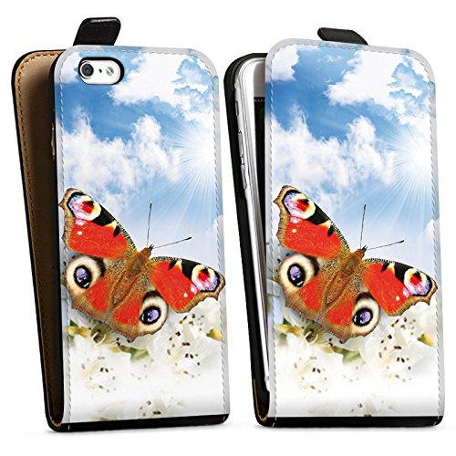 Apple iPhone X Silikon Hülle Case Schutzhülle Schmetterling Blumen Sonne Himmel Wolken Downflip Tasche schwarz