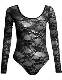 New Womens Neon Blumenspitze Voll Sleeve Gymnastikanzug Body Top 36-42