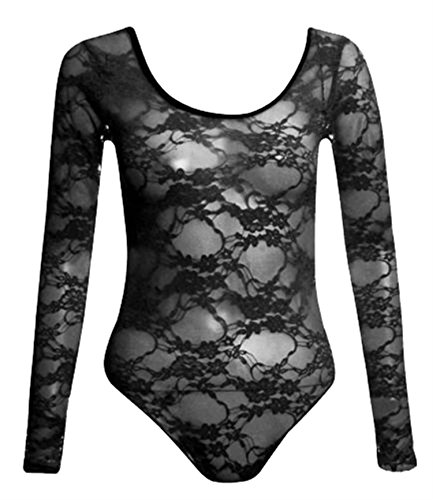 New Womens Neon Floral Lace Full Sleeve Leotard Bodysuits Top ( Black , UK 12-14 / EU 40-42 )