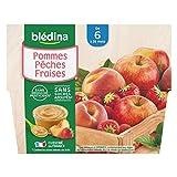Blédina 4 Coupelles Pommes Pêches Fraises dès 6 mois