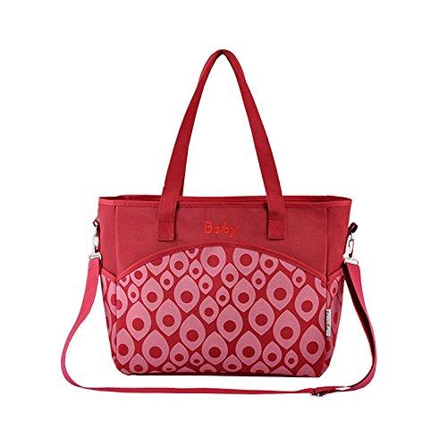 Paonies Kinder Babytasche Pflegetasche Tragetasche Wickeltasche Windeltasche Baby Tasche (Rot)