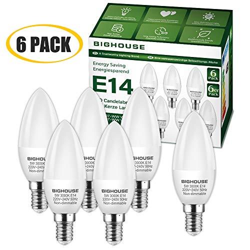 E14 LED Kerze Warmweiss (3000K), 5W 400 Lumen E14 LED Lampe Ersatz für 40W Halogenlampen, C37 Leuchtmittel, 270°Abstrahlwinkel, CRI>80, 220-240V AC (6 Stück)