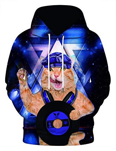 PIZOFF Unisex Hip Hop 3D Sternhimmel Katze Druck Kapuzenpullover DJ - Iron Mann Katze Kostüm