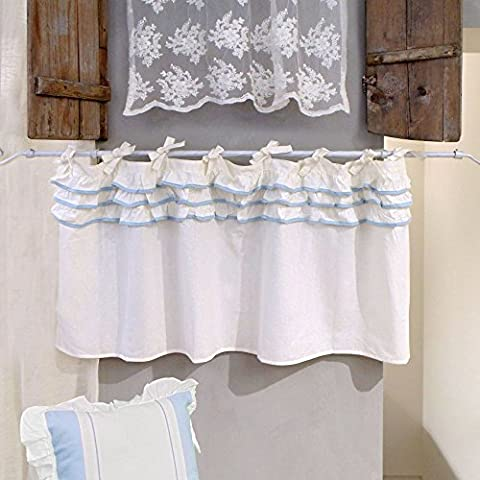 Vorhang Gardine Scheibengardine Bistrogardine mit drei Rüschen Landhaus Shabby Chic - Rüsche Volant - 140x60 - Elfenbein / Hellblau - 100%
