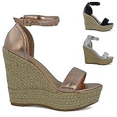 339a43c7395 ESSEX GLAM Womens High Wedge Heel Platform Sandals Ladies Ank ..