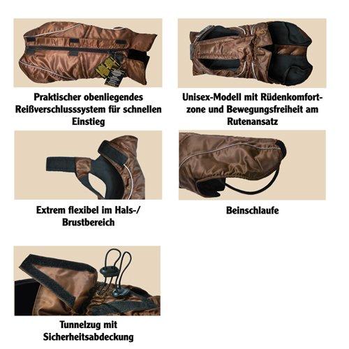 DOGBITE Winterjacke FLEXIBLE SYSTEM Schwarz Mantel für Hunde 50cm - 3