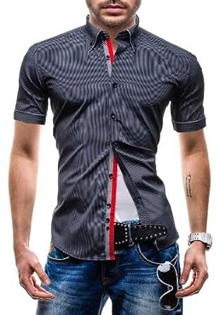 BOLF - Chemise casual - à manches courtes - MODELY 004C - Homme - 3XL Noir