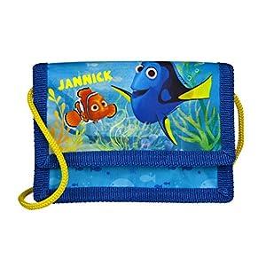 Geldbeutel mit Namen   personalisiert & Bedruckt   Motiv FINDET DORI   Geldbörse Kindergeldbeutel zum umhängen blau Fische Nemo   inkl. NAMENSDRUCK