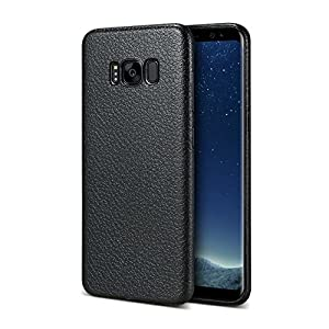 Enflamo Textured Soft Silicone Slim Back Cover Case for Samsung Galaxy S8(Black)