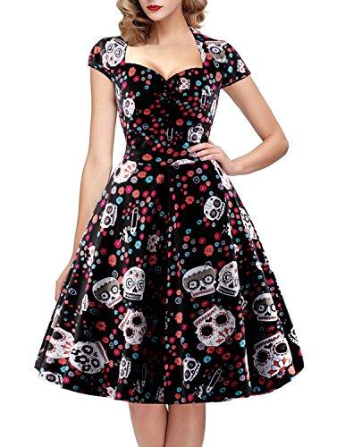 OTEN-Womens-Vintage-Floral-Sugar-Skull-Print-Summer-Party-Dress