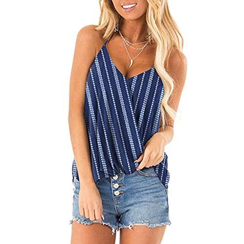 0b45fa7dfe65 Keoly T Shirt Donna Divertenti Canotta Donna Cotone Top Donna Estivi  Elegante Camicia Righe Colorate Canotta