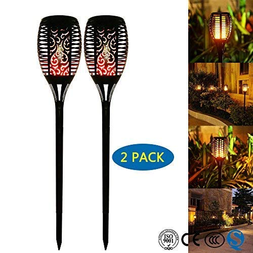 OUKANING Waterproof Solar Torch Lights, LED Torch Lights Flickering Torches with Realistic Flames Solar Powered for Outdoor Garden Landscape Decoration Path Lighting Dusk to Dawn (2 Pack) -