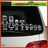 große Familie Modell 4 Aufkleber ca. 25 cm breite , Sticker-Familie Aufkleber Sticker Family breite Auto Aufkleber Autoaufkleber Familien Scheibe Lack Heckscheibe fürs Auto Familienkutsche Lustig Spass mit Montage Set inkl.