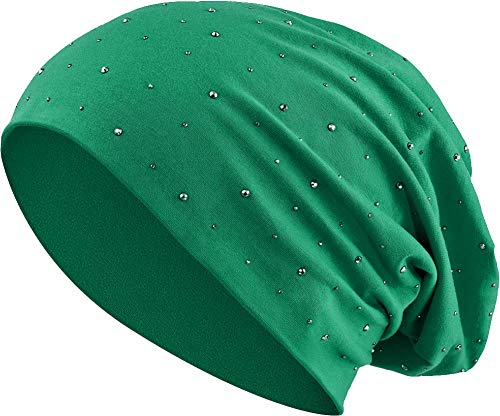 Jersey Baumwolle elastisches Long Slouch Beanie Unisex Herren Damen mit Strass Stern Steinen Mütze Heather in 35 (7) (Dark Green) - Heather Dark Green