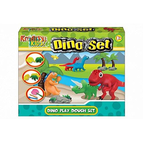 Dinosaurio plastilina Set - Niños juguetes creativos - Incluye 4 colores de la masa, Moldes dinosaurio + Accesorios