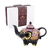 Artvigor, Porzellan Teekanne, Handbemalt Elefant Kaffeekanne, Geschenkverpackung