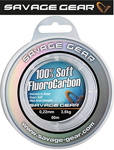 Savage Gear Soft Fluorocarbon 0,22mm 50m 3,5kg Angelschnur monofil, Fluoro Carbon Schnur, Vorfachschnur, Leader für Vorfächer