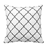 HOJJP Gray and White Decorative Cushion Covers Throw Pillow Case Moroccan Quatrefoil Pattern Print Square Two Sides 18x18 Inch
