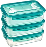 AmazonBasics Food Storage Containers 1.2 Litres, Set of 3, Multicolor