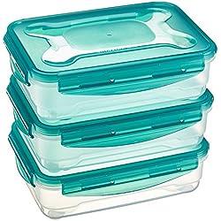 Juego de almacenamiento de comida hermético de 3 unidades de AmazonBasics, 3 x 1,2 L