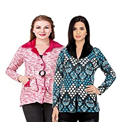 Kritika World Womens Wool Cardigan Dress (COAT_VELVET_PINK_COAT2_SKYBLUE_Pink Skyblue_X-Large)