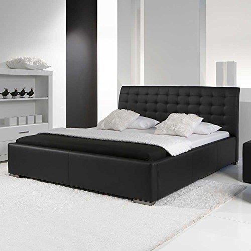 Pharao24 Polsterbett aus Kunstleder schwarz Comfort Breite 178 cm Liegefläche 160x200