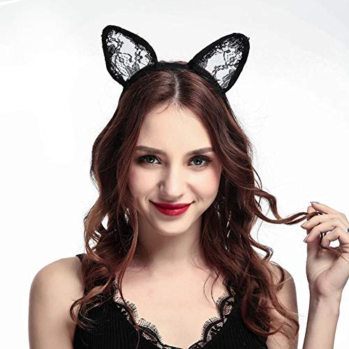 Danolt Frauen Spitze Stirnbänder Sexy Nette Katze Ohren Stirnband Haarband für Halloween Maskerade, Urlaub Prom, Kostüm Party. (Halloween Kostüme Niedliche Beste Freundin)