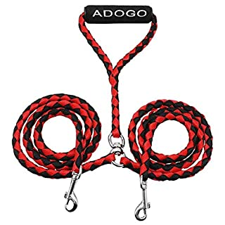 ADOGO Dog Lead Splitter,No-Tangle Double Dog Leash for Walking and Traning 2 Dogs (Red & Black)