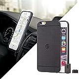 Funda para iPhone 6 y iphone 6s - Negra con Soporte Magnético 'StikGo' para Coche, incluye pinza magnética para rejillas del coche y botón magnético para superficies planas