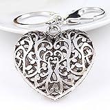 Miya1stück Hochwertige Herz förmige Schlüsselanhänger aus Metall, Vintage, liebevolles und Feines Geschenk, süß glänzende Herz mit Schnitzwerk (Herz_02)