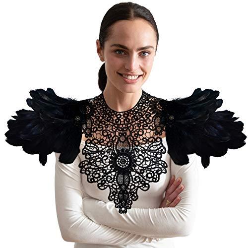 Max Kostüm 2 Mad - Homelex Gotisch Weiß Wirklich Feder Epaulette Schulter Flügel Für Männer Damen, Ym-22, Einheitsgröße