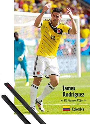 1art1® Póster + Soporte: Fútbol Póster (91x61 cm) James Rodríguez, El Nuevo Pibe Y 1 Lote De 2 Varillas Negras