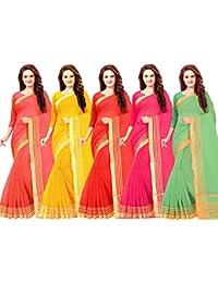 Vashtram Women's SuperNet Saree (CT0054_Multi-Coloured)