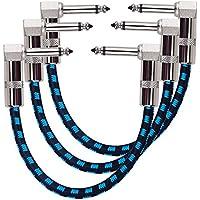 Rayzm Gitarren Klinkenpatchkabel, Geräuschlos für Gitarreneffekte, 6,35 mm Instrument Patch-Kabel mit Textilmantel -Tweed-Ummantelung für Gitarre/Bass Effektpedale (3er-Pack)