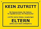 Postkarte Kunststoff +++ VERBOTENE SCHILDER von modern times +++ KEIN ZUTRITT FÜR ELTERN +++ ARTCONCEPT © VERBOTENE SCHILDER