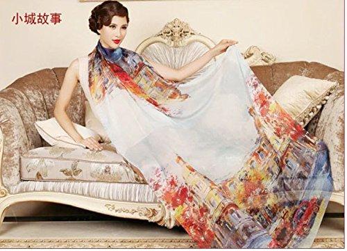YRXDD Großer langer Tuchfrühling und Herbstart und weise wilder Seide silk Dame Temperament Schaldruck,kleine Stadtgeschichte 110 * 180cm