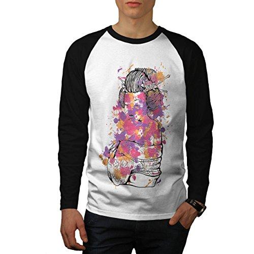 Geisha Sexy Kunst Fantasie orientalisch Herren M Baseball lange Ärmel T-Shirt   (Superhelden Kunst Sexy)