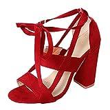 Elecenty Blockabsatz Sandalen Damen,10cm Hoch Absatz Sandalen Bandagen Sommerschuh Frauen Übergröße Sommer Schuhe Schuh Damenschuhe Party Shoes Riemchensandaletten Sandaletten (41, Rot)