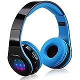 Excelvan - Plegable Auriculares Estereo Headphone Inalambrico Bluetooth (3 LEDs, Microfono Incorporado, FM, 3.5Mm Aux, Soporta TF), Azul