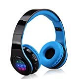 EXCELVAN Wireless Bluetooth Kopfhörer Headset LED Stereo faltbarer FM Radio unterstützt Mirco SD Karte 3.5mm Audio Schnittstelle Blau
