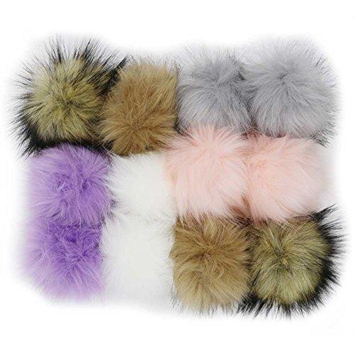WPQES DIY 12 stücke Faux Fuchspelz Flauschigen Pompom Ball für Stricken Hüte, Taschen, Schlüsselanhänger, schuhe, 10 cm (4