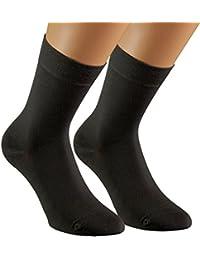 Vitasox Exklusive Damen Socken Baumwollsocken mit Wolle Damensocken Wollsocken einfarbig Schwarz ohne Naht ohne Gummi 3er oder 6er Set