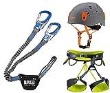 LACD Klettersteigset Pro Blue + Klettergurt Camp Größe L + Helm Titan Grey 54-62cm