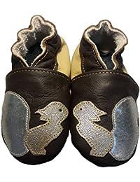 """""""Noisette"""" de BBKDOM- Chaussons bébé et enfant en cuir souple de qualité supérieure Fabrication Européenne de 0-5 ans"""