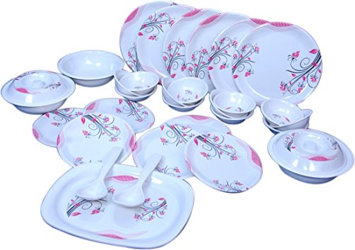 Raro Melamine Orbit Dinner set pack(Set of 32),White:Pink