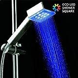 Duschkopf quadratisch mit integrierten LEDs lumnieux