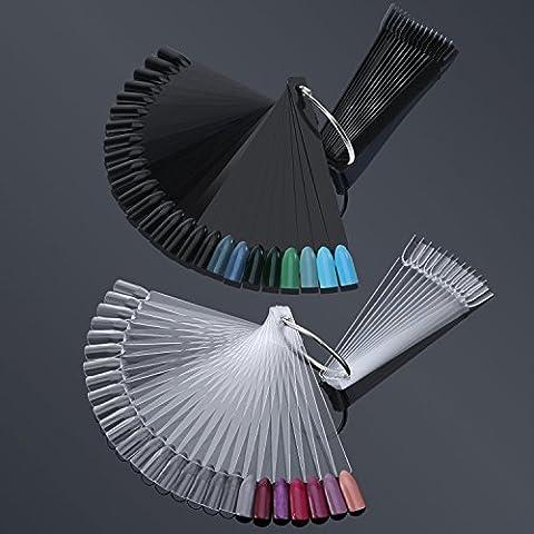 Hotop 100 Pièces Nail Art Tips Stick Présentoir Faux Ongles avec 5 Pièces Supports d'Anneaux pour le Exercice Ongles Dessins