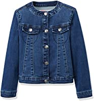RED WAGON Girl's Collarlessdenim Jacket, Blue (Multi), 4 Years