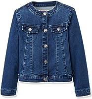 RED WAGON Girl's Collarlessdenim Jacket, Blue (Multi), 4 Years