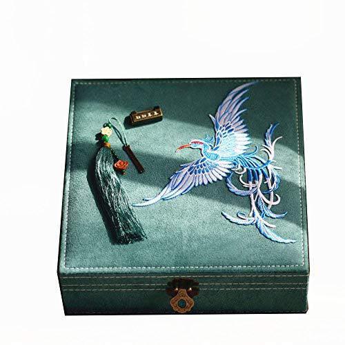 Laogg Chinesische Schmuckschatulle,Retro Kupfer Verschluss Schmuckschatulle chinesische Stickerei Schriftzug Schmuckschatulle Schmuckschatulle Make-up Geschenkbox,Chinesische Hochzeit Aufbewahrungsbox (Ritter-schatz-schmuck)